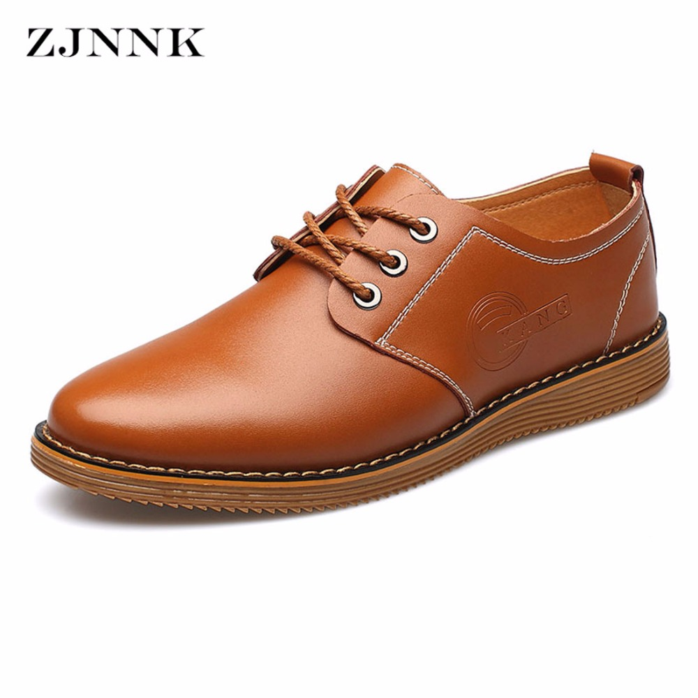 ZJNNK High Quality Men Leather Shoes British Style Handmade Flats Oxfords,Lace Up Flats Men Casual Shoes Plus Size tangnest men pu leather shoes 2017 british style men lace up casual shoes solid platform flats for male comfort shoes xmr2422