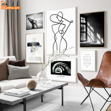 Wall Art Canvas Painting Watercolor Pop Girl Black White Minimalism Posters And Prints Kids Pictures For Living Room