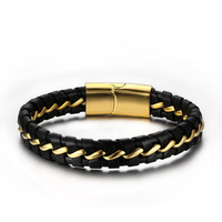Top Quality Genuine Leather Bracelet Men Stainless Steel Leather Braid Bracelet With Magnetic Buckle Clasp Pulseiras