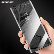 For Huawei Enjoy 8E Y6 Prime 2018 Honor 7A Pro Case Plated mirror smart flip to wake up the Clear view bracket phone Cover Coque все цены
