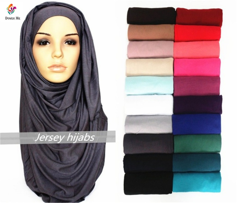 21 Colors Plain Solid Maxi Jersey Hijab   Scarf     Wrap   Elastic Foulard Sjaal Bufandas Arab Snood Islamic Muslim Head Hijab 180*85Cm