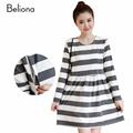 New Autumn Stripe Nursing Clothes Loose Casual Breastfeeding Dress for Feeding Plus Size Women's Clothing for Feeding Dresses