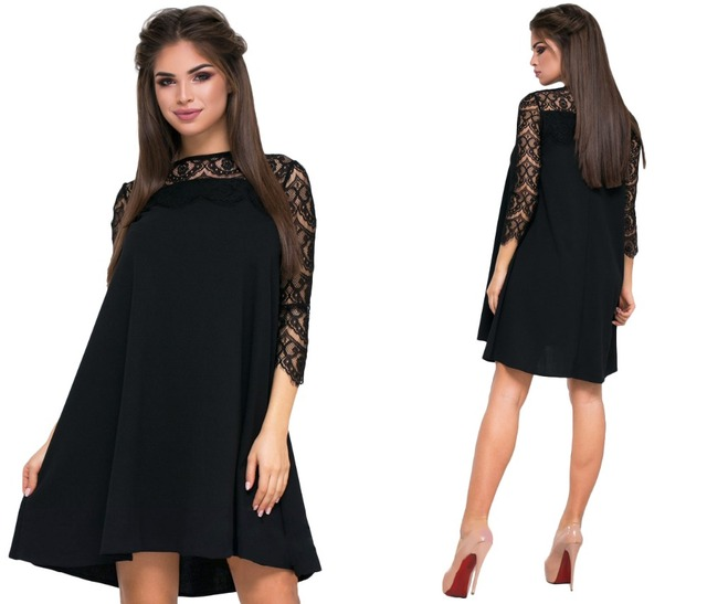 2018 Fashion Spring Elegan Woman Lace Dress Solid Loose Patchwork Above  knee dresses Fat MM Plus Size Women dress Big size 6XL 50593ec46f81