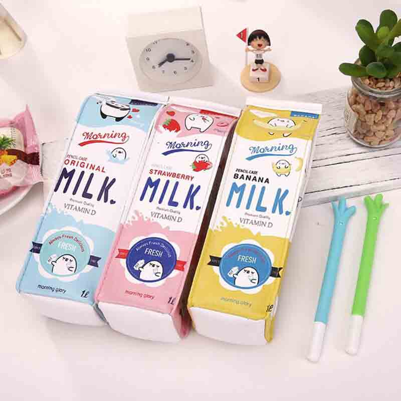 Mignon corée Kawaii porte-crayon porte-crayon d'école pour les filles garçons en cuir lait stylo boîte crayon papeterie sac fournitures scolaires