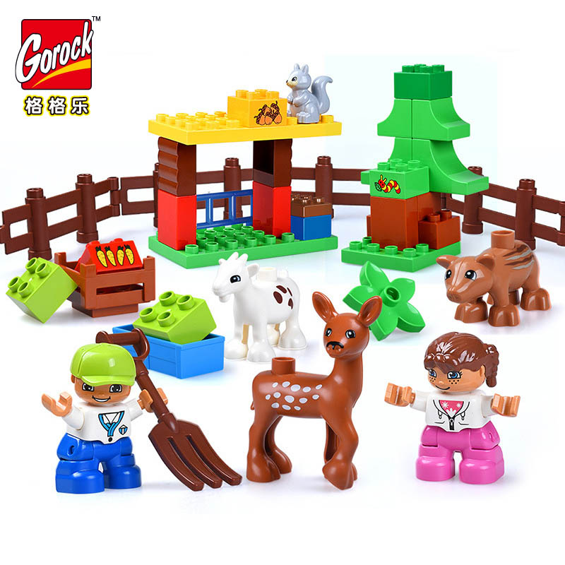 GOROCK 39pcs Large Size Bricks Forest Animals Building Blocks Compatible With Duploe Big Particle Family Toy Baby Birthday Gift