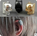gold black silver color skull clip earcuff male earring on one ear