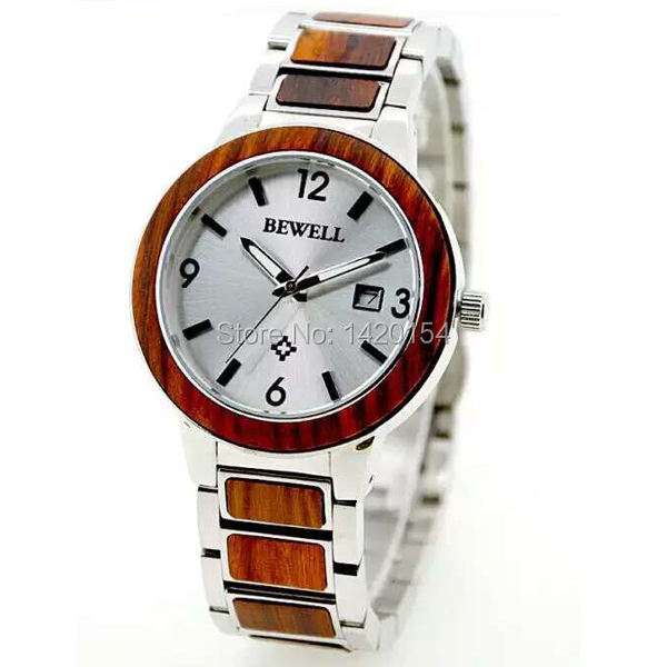 ФОТО BEWELL Mens Women New Sterling Silver Solid Stainless Steel Wood Watch Collection With Date