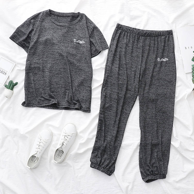 2019 Spring   pajamas   for women female   pajamas     set   short sleeve and long pants one size sleepwear Knitted cotton home suit