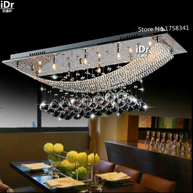 Creative personality Restaurant Hotel Villa living room  Pendant Lights  Nordic American K9 crystal  rectangular