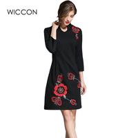 autumn new women's dresses vintage elegant mommy black slim knee length dress high waist long sleeve stand collar embroidery