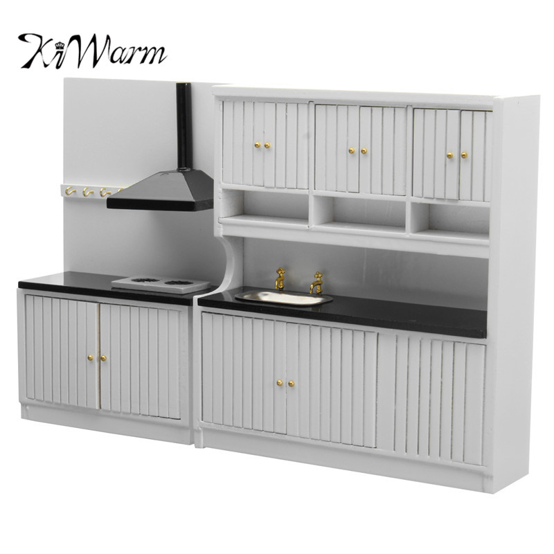 KiWarm Modern 1/12 Scale Fairy Dollhouse Miniature Kitchen Set Cabinets Stove Sink handcrafted for baby Gifts DIY Ornament