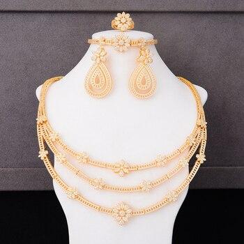 GODKI Luxury 3 Layers Flowers Cubic Zircon CZ Nigerian Jewelry sets For Women Wedding Dubai Gold Bridal Jewelry Set 2019