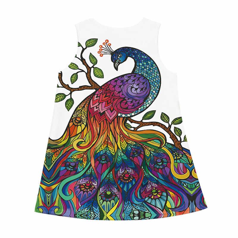 Подростков малышей для детей девочек без рукавов 3D мультфильм печати мультфильм платья для женщин Повседневная одежда дети летнее платье рукавом roupa infantil # sg