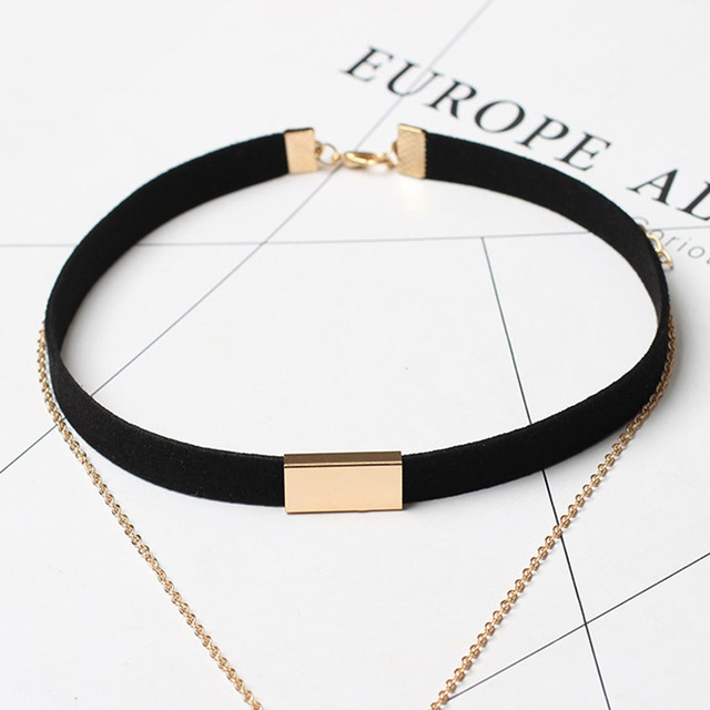 Black Velvet Chocker Necklace With Gold Or Silver Chain Bar