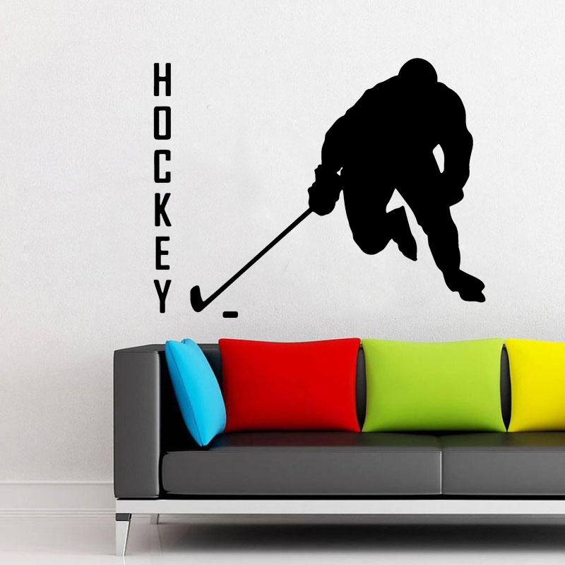 Hockey Player Vinyl Decal Sports Silhouette Sticker Home Interior Decorations NHL Art Teen Children's Boys Room Wall Decor A334 image