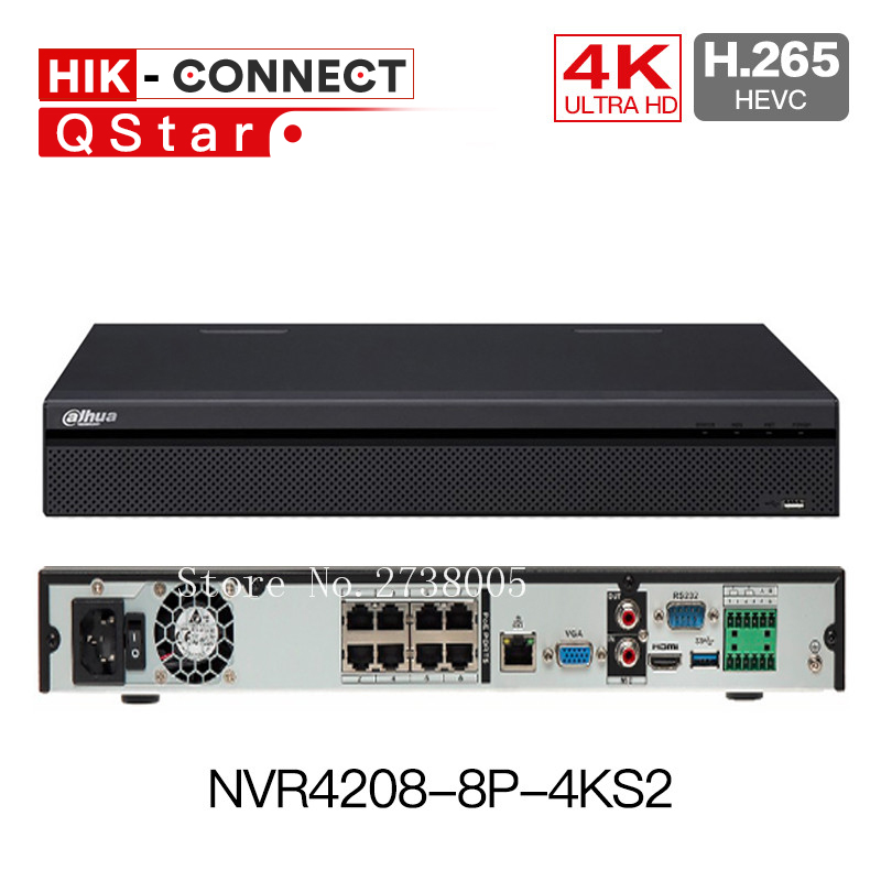 DH 4K H.265 NVR4208-8p-4ks2 8ch POE NVR 8 Channel 1U 8 PoE Lite h265 4K NVR4216-16p-4KS2 16ch NVR4232-16p-4ks2 32ch 16poe NVR dahua nvr 4k nvr5416 16p 4ks2 nvr5432 16p 4ks2 psp poe video recorder 16poe ports 16ch 32ch h 265 h 264 people countiing ivs dvr