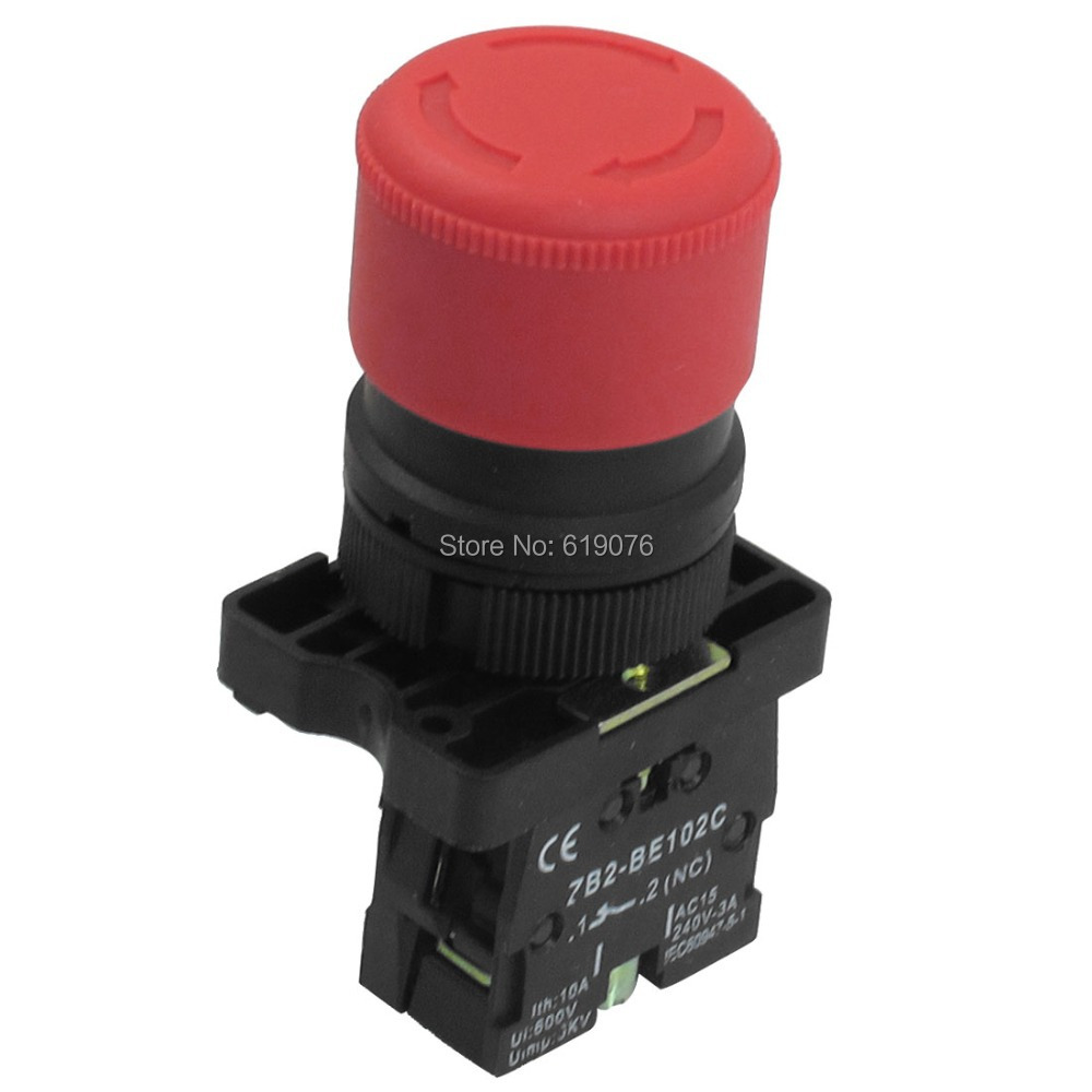 цена на 22mm 1 NC Red Sign Emergency Stop Push Button Switch 600V 10A ZB2-BE