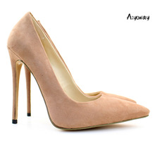 Aiyoway Elegant Women Ladies Pointed Toe High Heel Pumps Faux Suede Party Office Dress Shoes light Brown Slip On US Size 5-15 prova perfetto elegant office lady shoes faux suede women pumps pointed toe thin high heel dress shoes basic pumps zapatos mujer