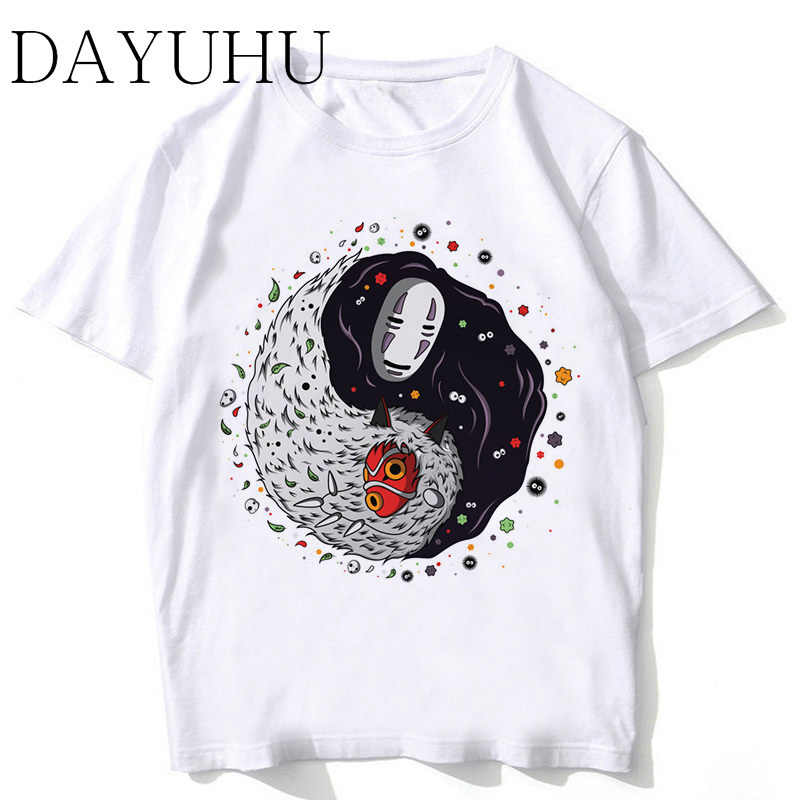 Studio Ghibli T-shirt Mannen Spirited Away Mononoke Gedrukt T-shirt Grappig Cartoon Jongen Japanse Anime Tshirt Zomer Top Tees