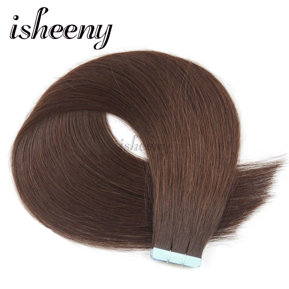 Isheeny 14 18 20 22 Tape In Natural Human Hair Extensions 4# Middle Brown European Skin Weft Remy Hair Extension
