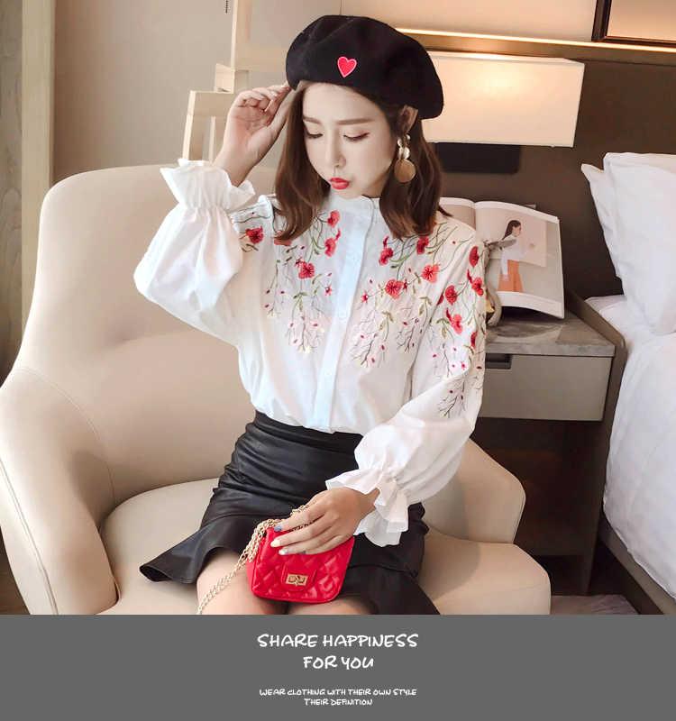 2018春ロングランタンスリーブスタンド襟白い綿のシャツ女性の花刺繍白ブラウス女性フラワーホワイトトップス