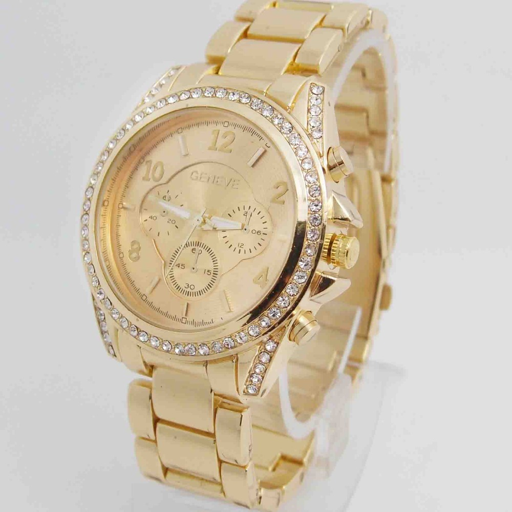 High Quality Geneva Brand Stainless steel Watch Women Ladies Men Crystal Dress Quartz Wristwatches Relogio Feminino G-4 hot sales geneva brand silicone watches women ladies men fashion dress quartz wristwatches relogio feminino gv008