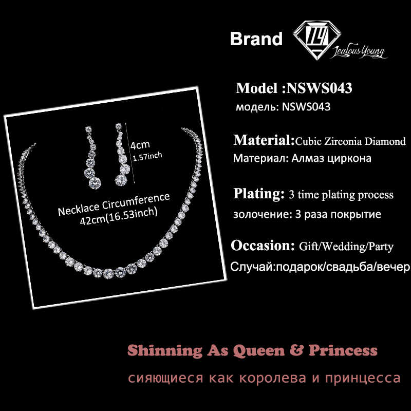 Luxury Round AAA Cubic Zircon Jewelry Sets For Brides White Gold Color Necklace Set For Women Wedding Jewellery Sets AS043