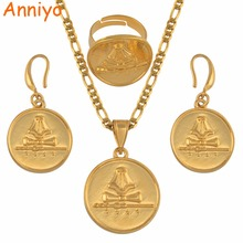 Anniyo PNG Jiwaka Province Flag Gold Color Necklace Earrings Ring for Women Papua New Guinea Jewellery Ethnic Gifts #134706