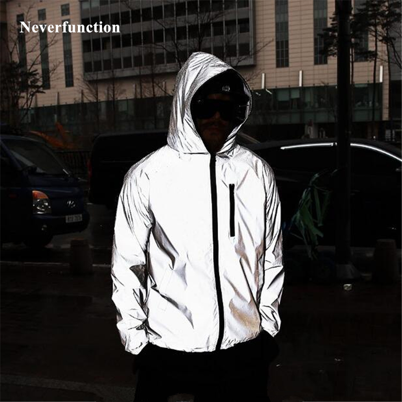 Plus Size 4XL Men Spring Autumn Full Reflective Windbreaker Waterproof Jacket Male High Street Hip Hop Loose Hooded Coats