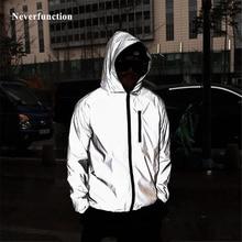Plus Size 4XL Men Spring Autumn full reflective Windbreaker waterproof Jacket ma