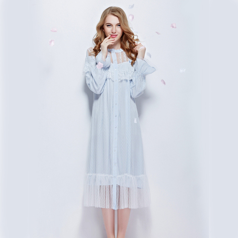 Womens beautiful elegant vintage nightgowns long sleeping Long cotton sleep shirts