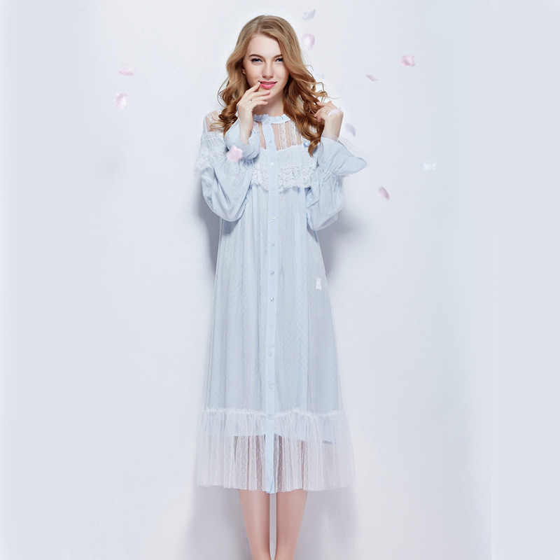 cb6ed95bfe Womens Beautiful Elegant Vintage Nightgowns Long Sleeping Beauty Nightgown  Cotton Sleepwear Lace Retro Blue Nightdress For