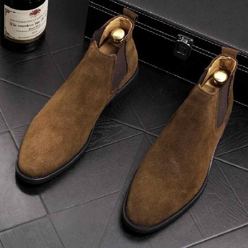 ERRFC Mode Winter Mannen Chelsea Laarzen Bruin Slip Op Nubuck Trending Man Leisure Laarzen Zwarte Luxe Hoge Top Casual Schoenen 38-44