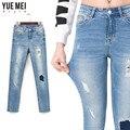 2016 Мода рваные джинсы для женщин Джинсы Размер Упругой Плюс для женщин Промывали Тощий Женщина Рваные Джинсы femme карандаш джинсы женщины