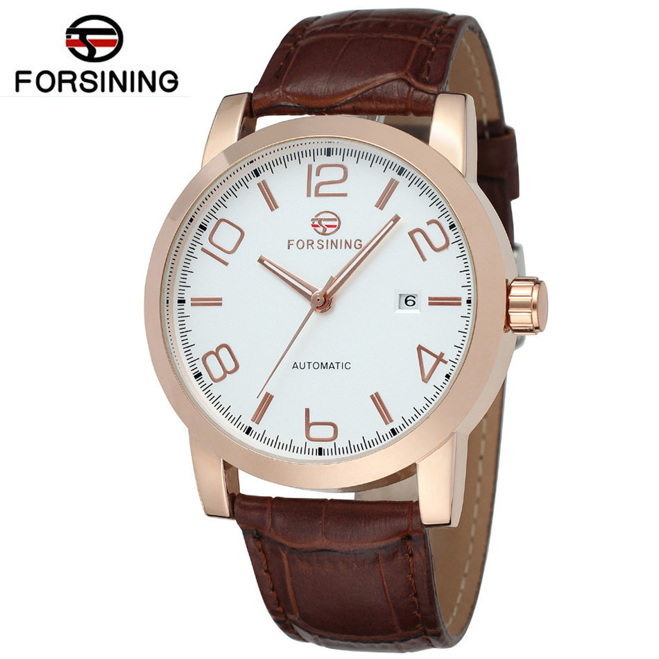 2017 Forsining New Men's Watches Montre Homme Day Clock Boy Auto Mechanical Watch PU Leather Wristwatch  Free Ship fosining luxury montre homme watch men s auto mechanical moonpahse genuine leather strap watches wristwatch free ship