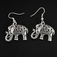 Vintage Tibetan Silver Hollow Out Carved Animal Elephant Drop Dangle Fashion Jewelry Earrings for Women