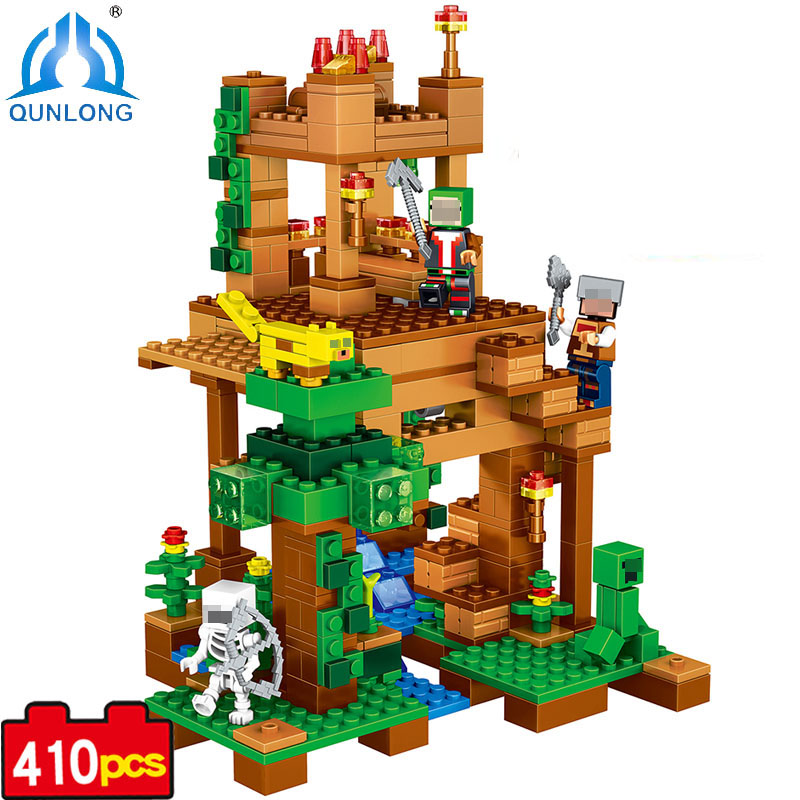 410pcs Village Building Blocks Figures Bricks Set Educational Kids Boy Girl Toy Compatible With Legoe Minecraft City Brinquedos kazi 608pcs pirates armada flagship building blocks brinquedos caribbean warship sets the black pearl compatible with bricks