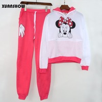XUANSHOW-Women-Set-Casual-Sportswear-Cute-Ear-Cartoon-Mouse-Printed-With-Hooded-long-sleeved-Tracksuit-4