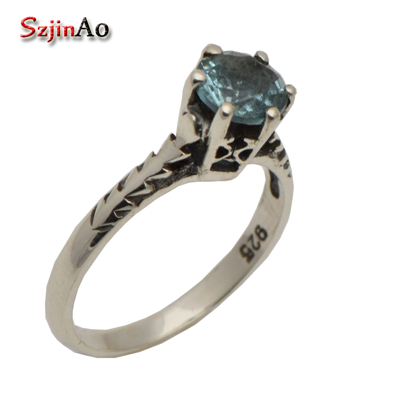 Szjinao  Korean princess sky Aquamarine ring luxury archaize contracted women 925 sterling silver ring wholesaleSzjinao  Korean princess sky Aquamarine ring luxury archaize contracted women 925 sterling silver ring wholesale