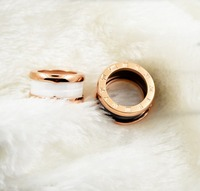 Hot Silver Gold Rose Gold Color Stainless Steel Bulgaria Rings Black White Ceramics Luxury Brand Jewelry