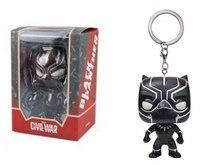 Marvel The Avengers 3 Super Hero Black Panther Vinyl Action Figures Children Toy Captain America Keychain