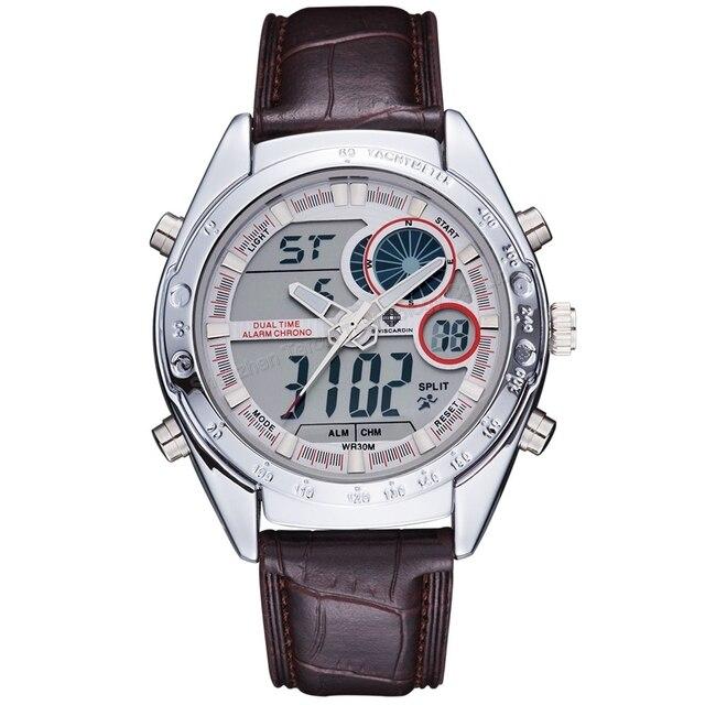 81fa10a92de Relógio de pulso esporte pulseira de couro masculino