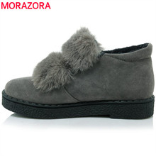 MORAZORA SIZE 34-45 new flat ankle boots rabbit fur round toe nubuck pu leather winter snow boots female shoes woman