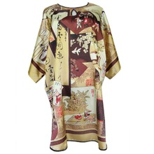 Plus Size Loose Sleepwear Robe Women's Rayon Print Flower Sleepshirt Bathrobe Sexy Lady Home Night Dress Nightgown Bath Gown