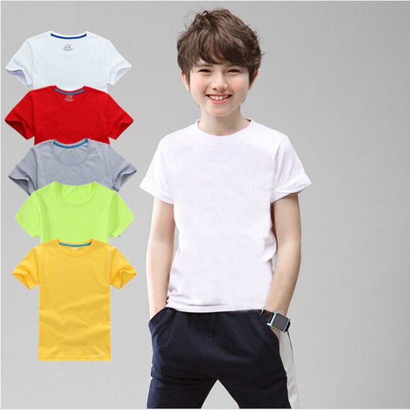 100% Cotton Children T-shirt Kids Tshirt 3-10T Boys Girls Black White Red Gray Yellow Tops 5 Colors XS-2XL For DIY(China)