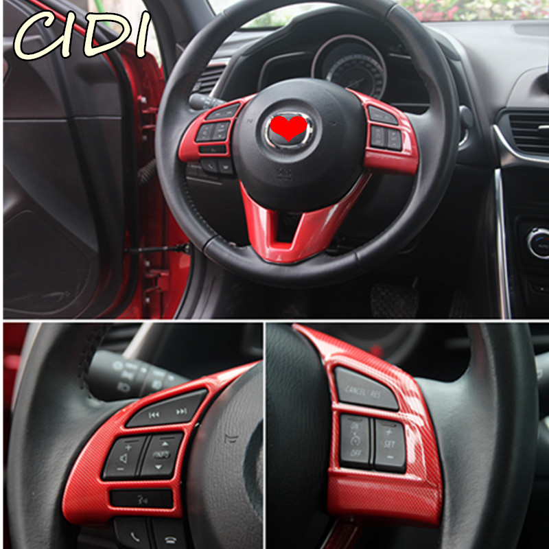 High Quality Carbon Fiber Steering Wheel Trim Interior Frame Auto Parts For Mazda CX-5 CX5 AWD/4WD 2015 2016 Car Styling tomefon new wood grain steering wheel interior accessories for mazda 3 mazda 6 cx 5 cx 9 cx9 2017 2018 car interior styling