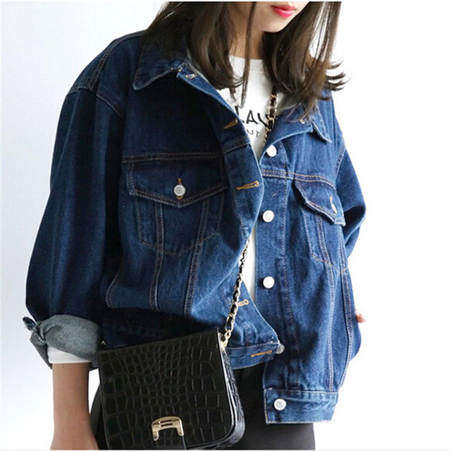 Women Tops Bomber jacket Jean jacket Latest Loose Han edition Long ...