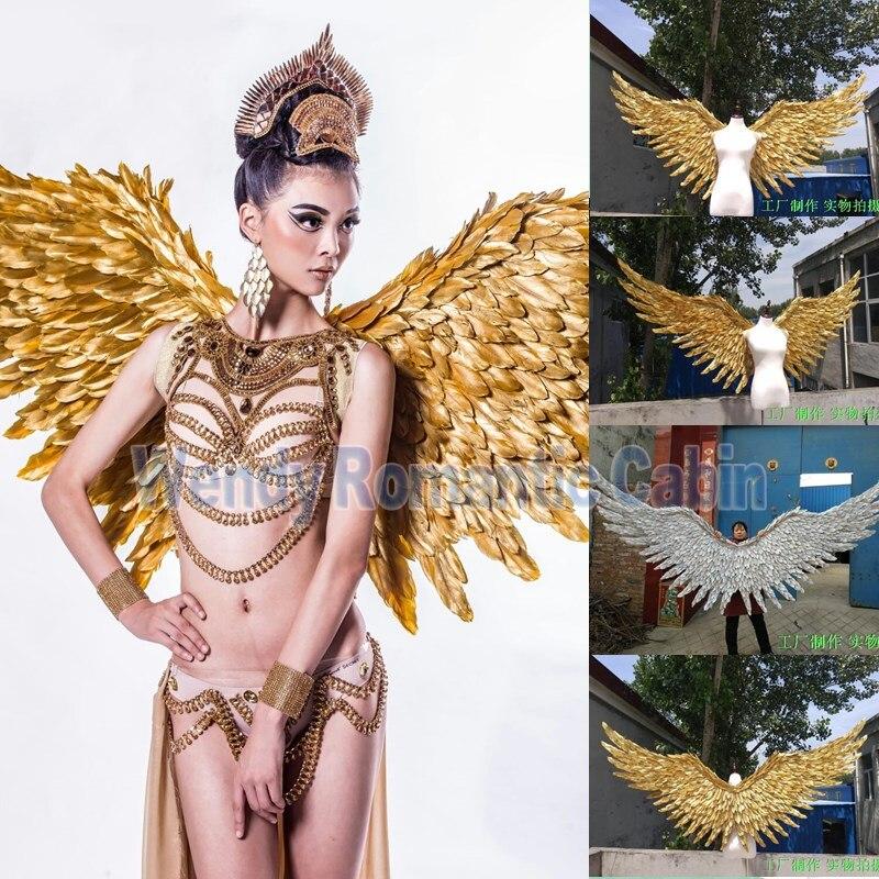 2017 Новый стиль Золотое крыло Ангела реквизит Подиум шоу реквизит Праздничный Ангел перо Крылья Окно реквизит нижнее белье шоу костюм