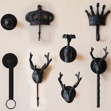 Premintehdw, hierro fundido, chaqueta negra Vintage, abrigo, sombrero, gancho de bufanda, estante para mujer, tienda de vestido, exhibidor, corona, cabeza de ciervo, grifo