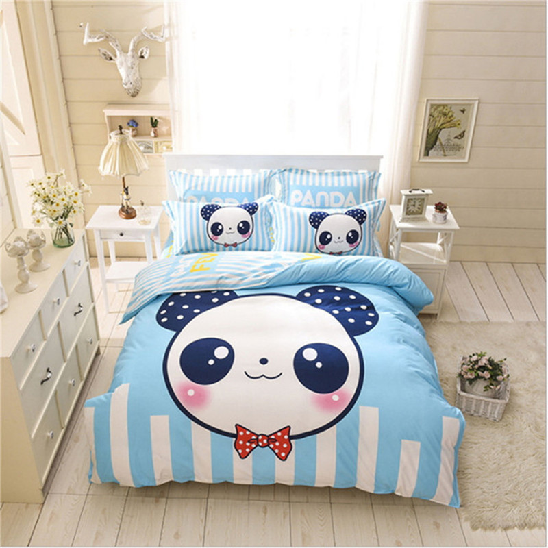 Adult children Cartoon Design 4pcs bedding 1pcs quilt cover/1pcs bed sheet/2pcs pillowcase free shipping